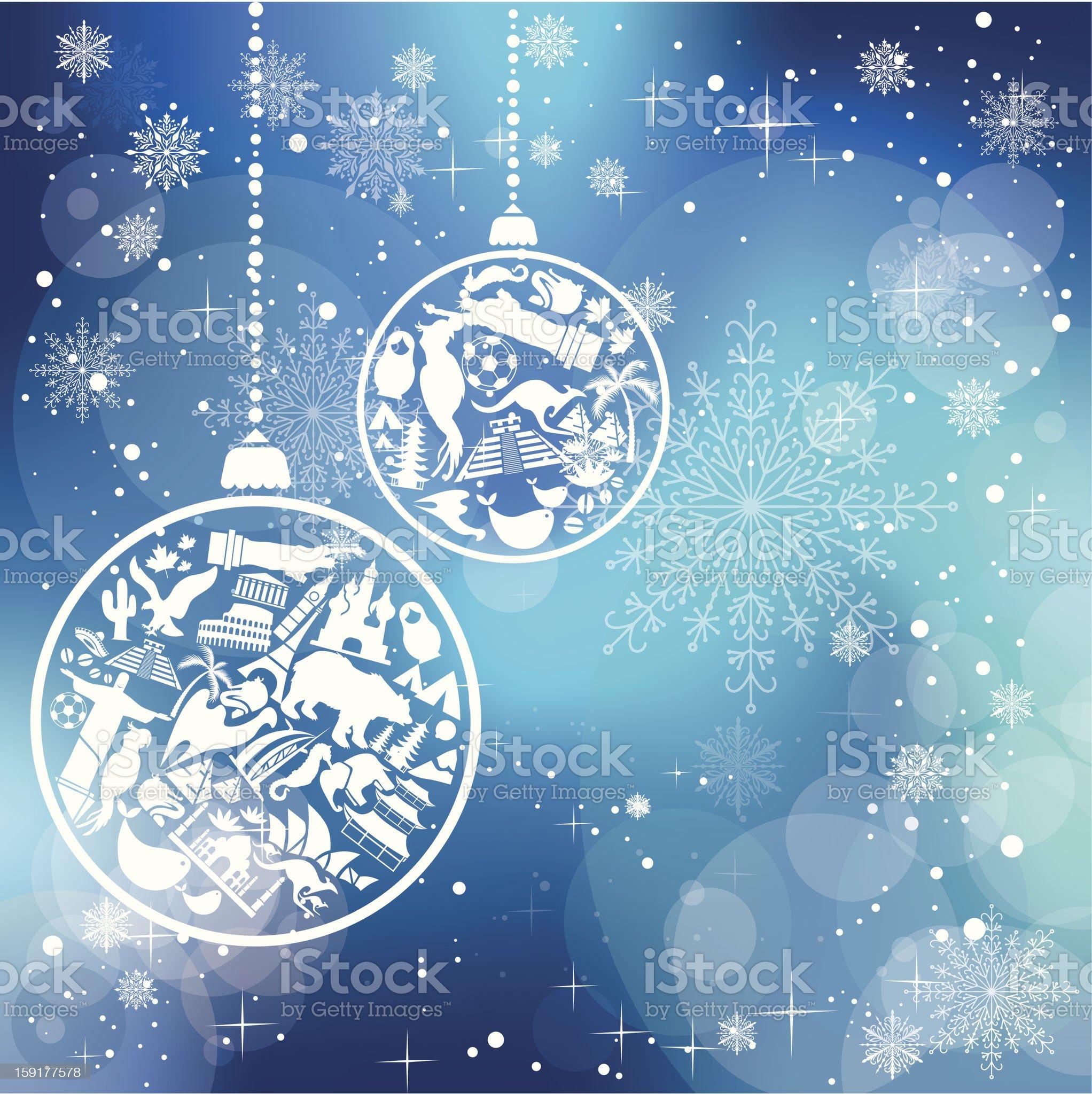 Christmas card with landmarks symbols royalty-free stock vector art