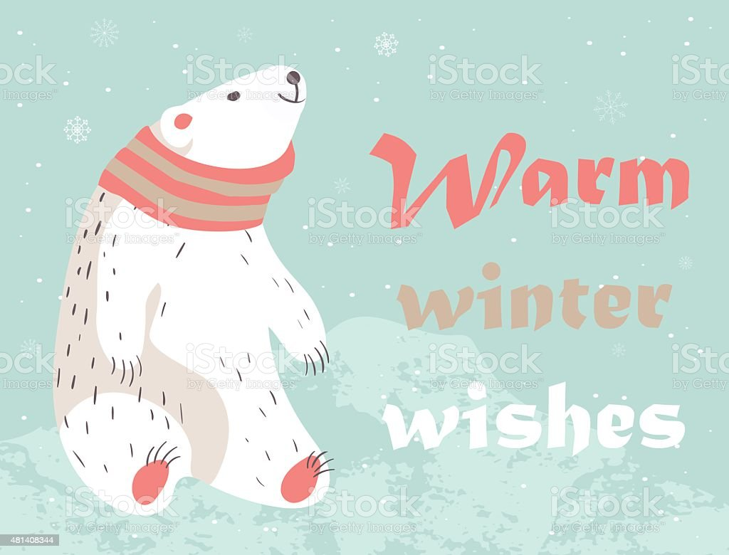 Christmas card with polar bear vector art illustration