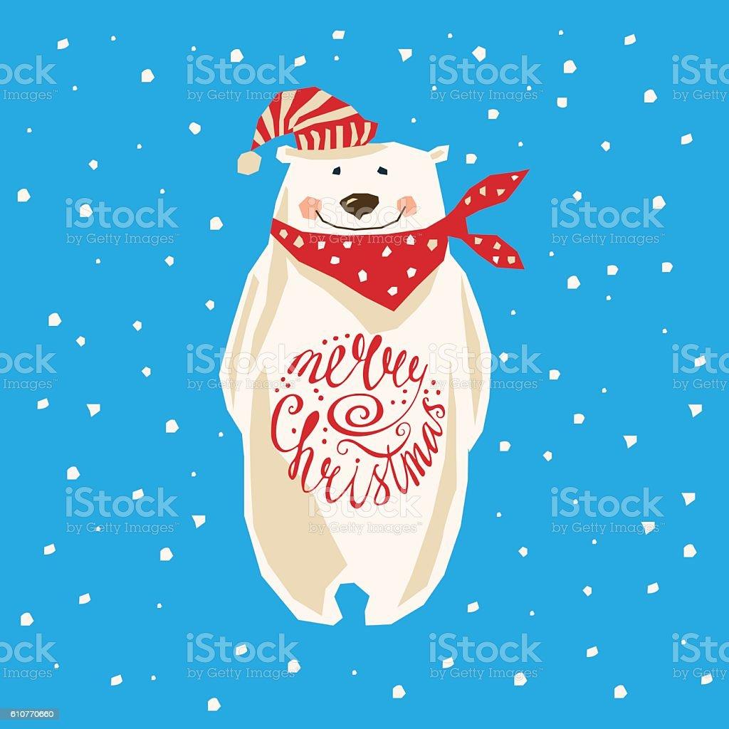 Christmas card with polar bear royalty-free stock vector art