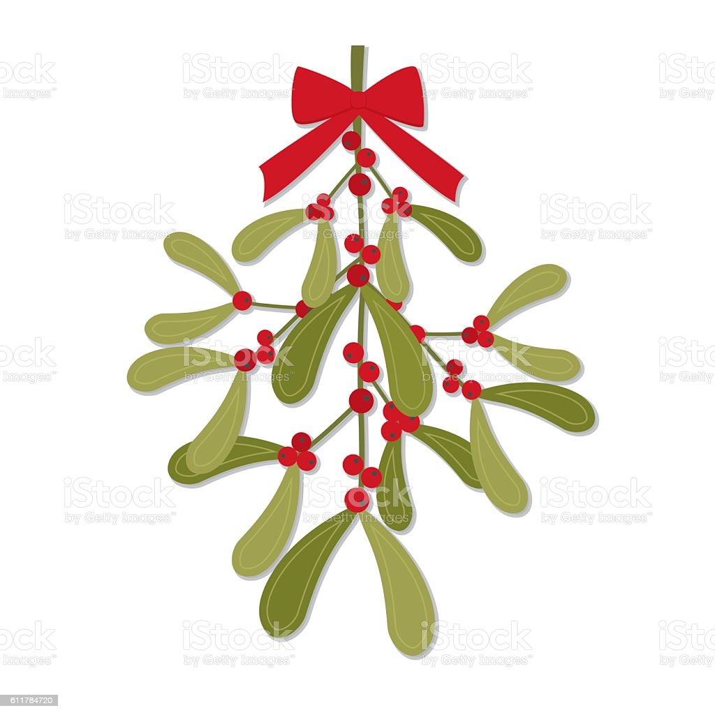 Christmas card with red bow on hanging mistletoe design vector art illustration