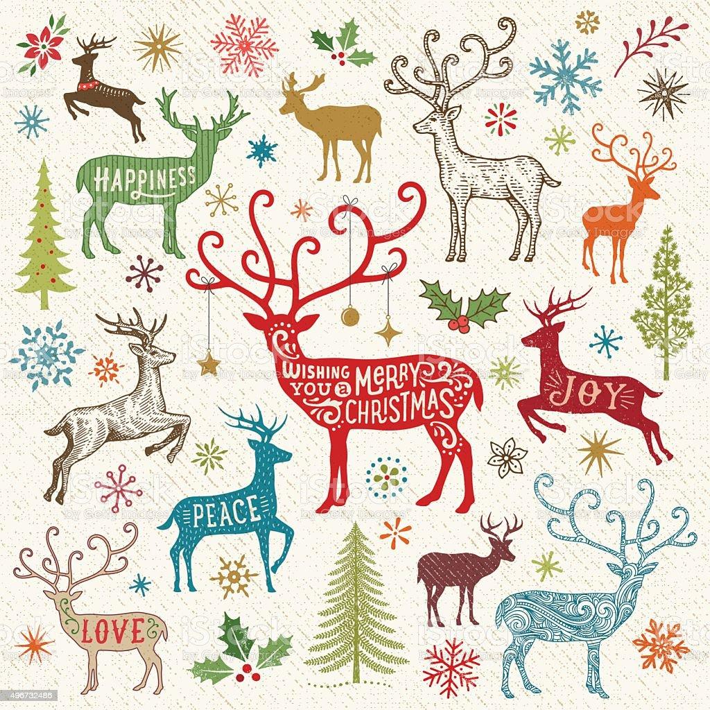 Christmas Card with Reindeer vector art illustration