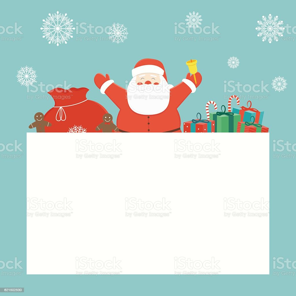 Christmas card with Santa Claus and christmas gifts. Greeting card. royalty-free stock vector art