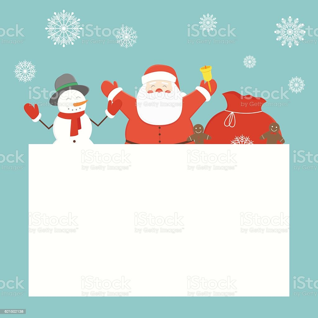 Christmas card with Santa Claus and friends. Greeting card. royalty-free stock vector art
