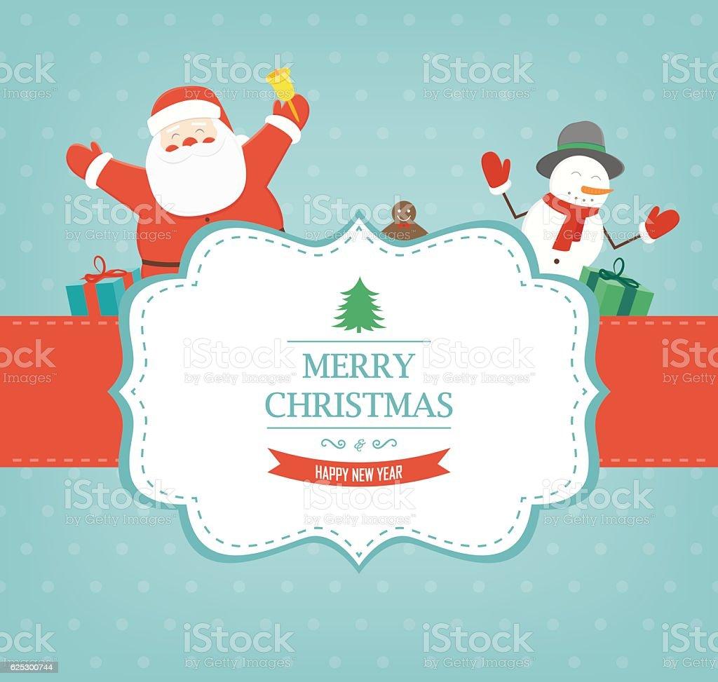 Christmas card with Santa Claus and Snowman. Vector royalty-free stock vector art