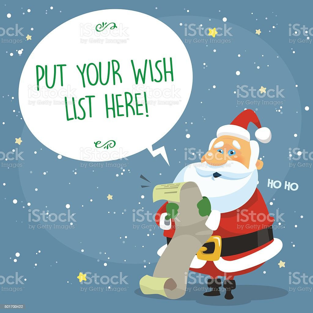 Christmas card with Santa Claus and wish list vector art illustration