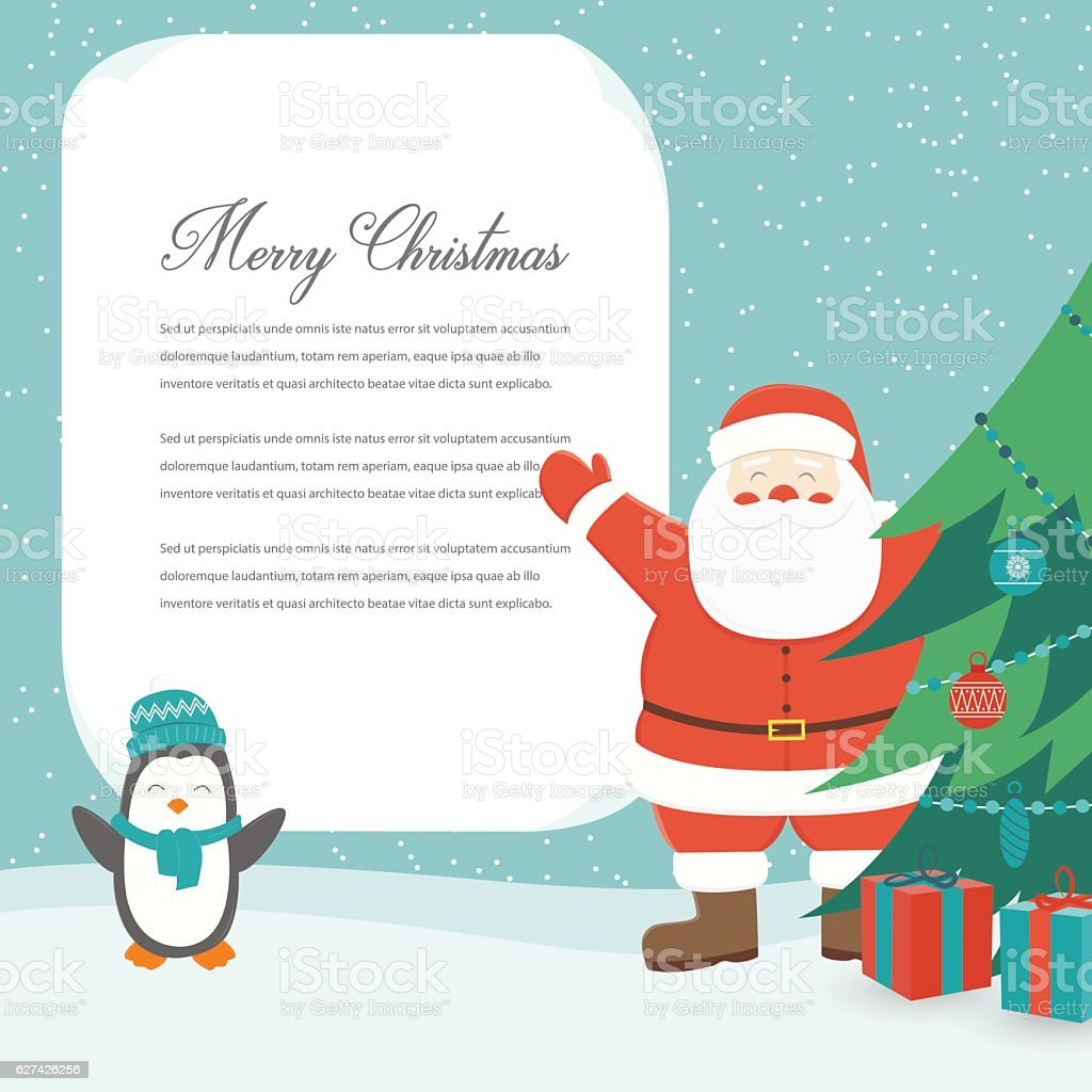 Christmas Card with Santa Claus. Template with copy space. Vector royalty-free stock vector art