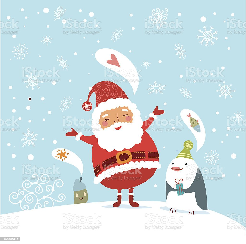 Christmas card with Santa Claus royalty-free stock vector art