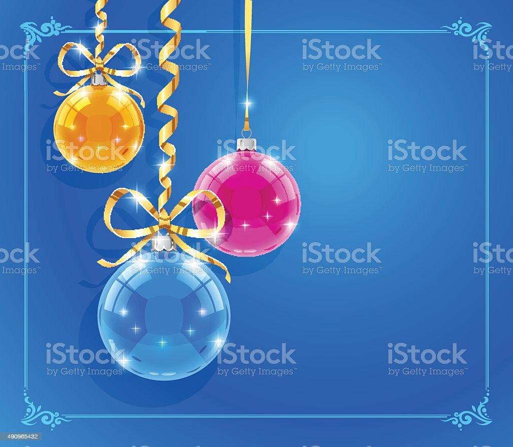 Boże Narodzenie karty z najmocniej lśniących piłki i wstążki stockowa ilustracja wektorowa royalty-free