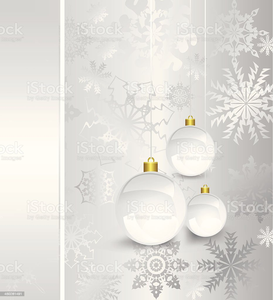 Christmas card with silver decorated balls. Vector royalty-free stock vector art