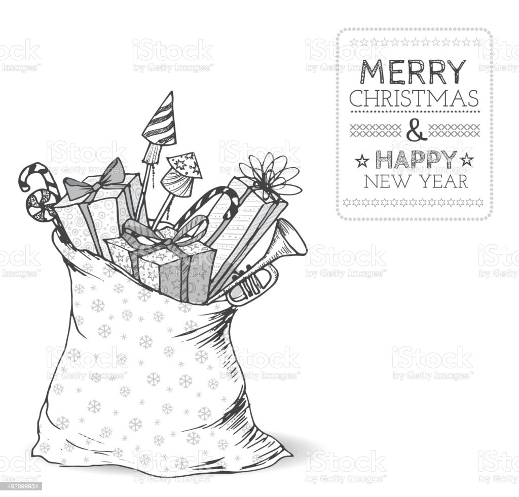 Christmas card with skethy sack full of gifts vector art illustration