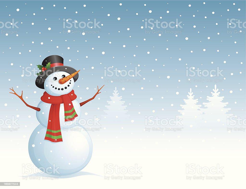 Christmas card with Snowman vector art illustration