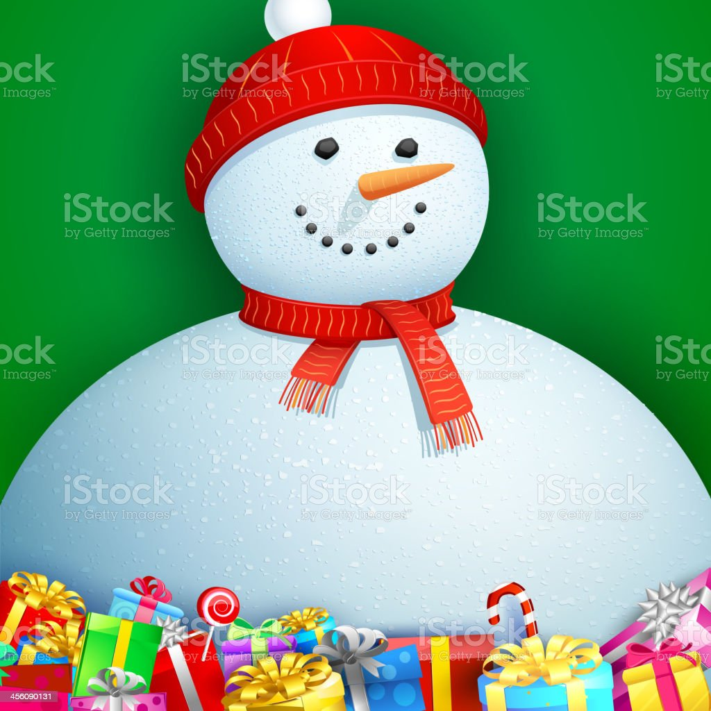 Christmas card with Snowman royalty-free stock vector art