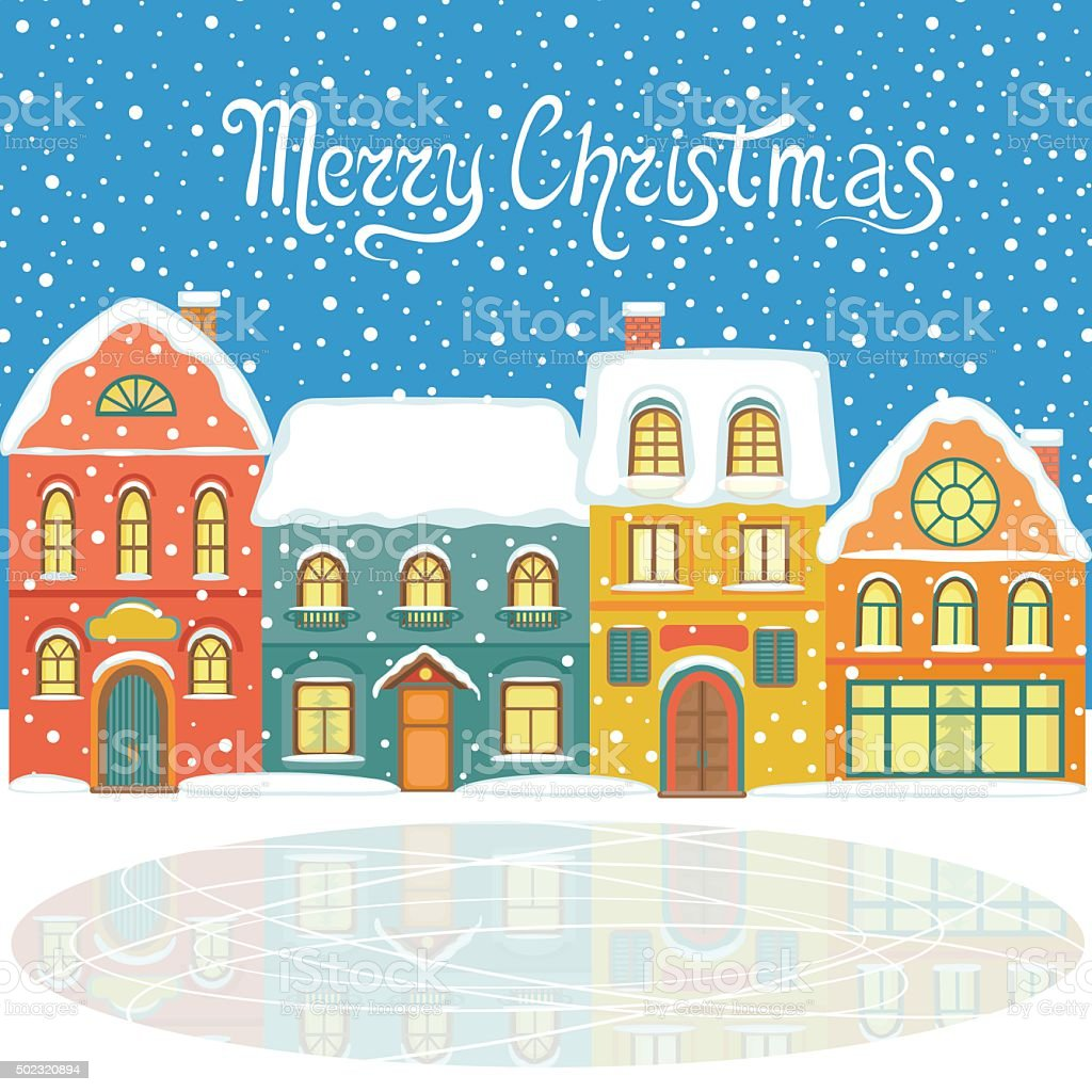 Christmas house with snow art - Christmas Card With Snowy Houses Royalty Free Stock Vector Art