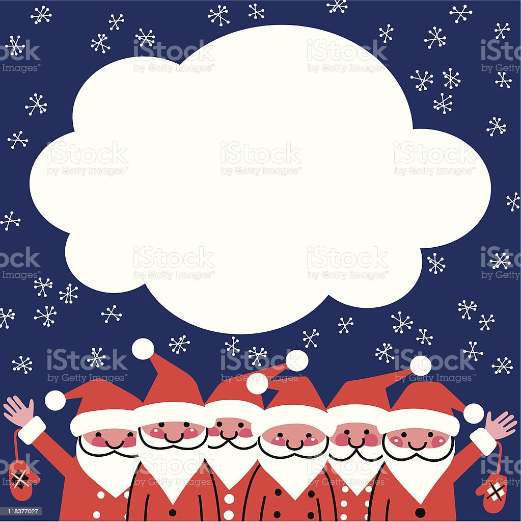 Christmas card with the Santa Clauses. royalty-free stock vector art