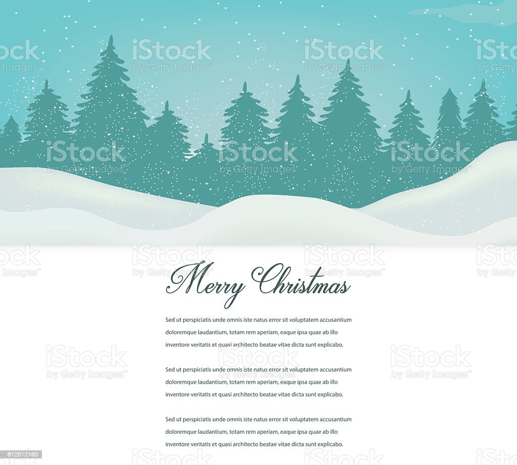 Christmas card with winter landscape and space for text. Vector royalty-free stock vector art