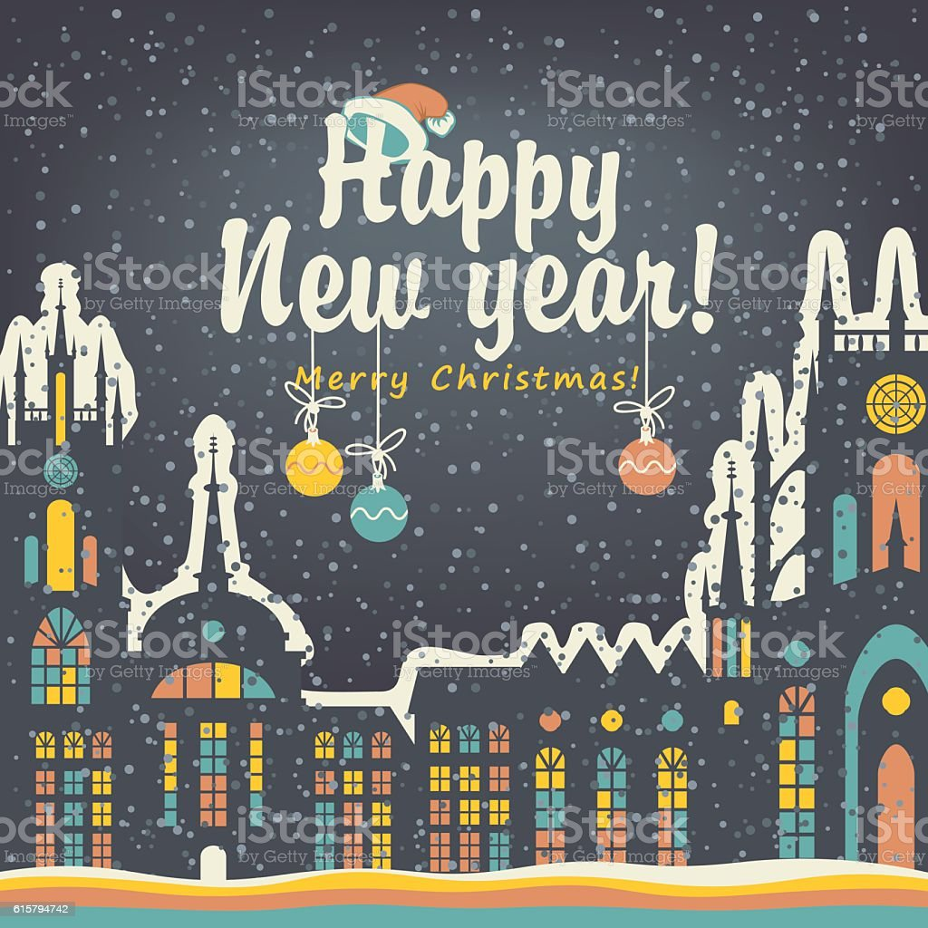 Christmas card with winter old city vector art illustration