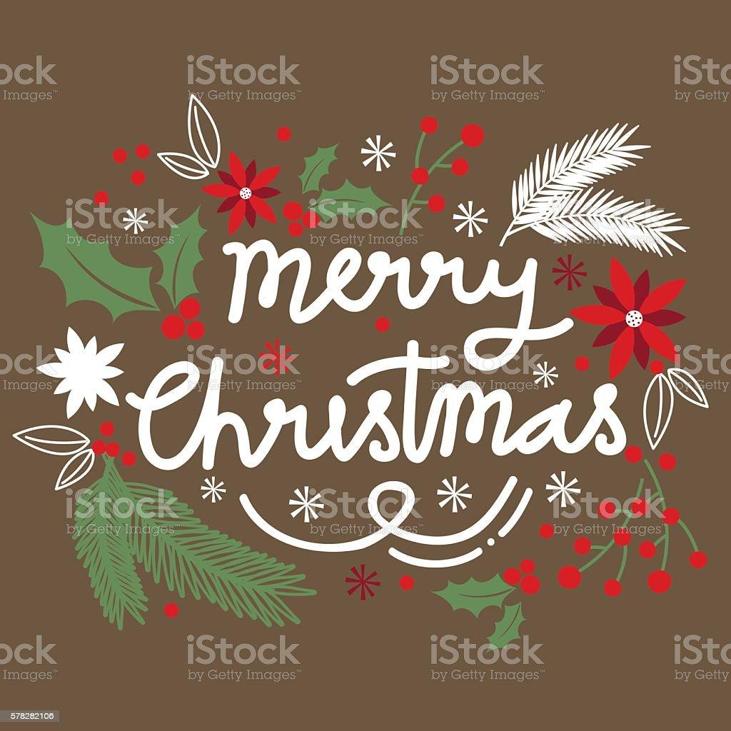 Christmas card with wreath design vector art illustration