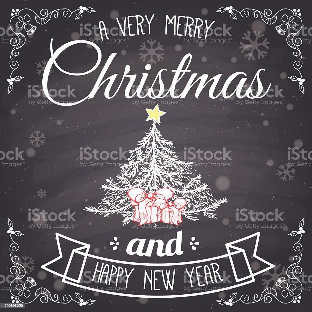 Carte de Noël, arbre de Noël sur tableau stock vecteur libres de droits libre de droits