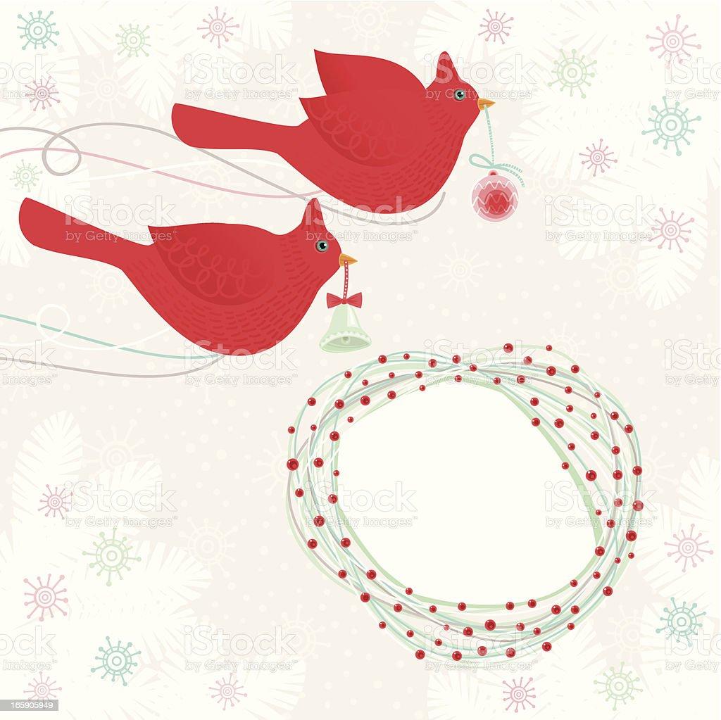 Christmas Cardinals royalty-free stock vector art