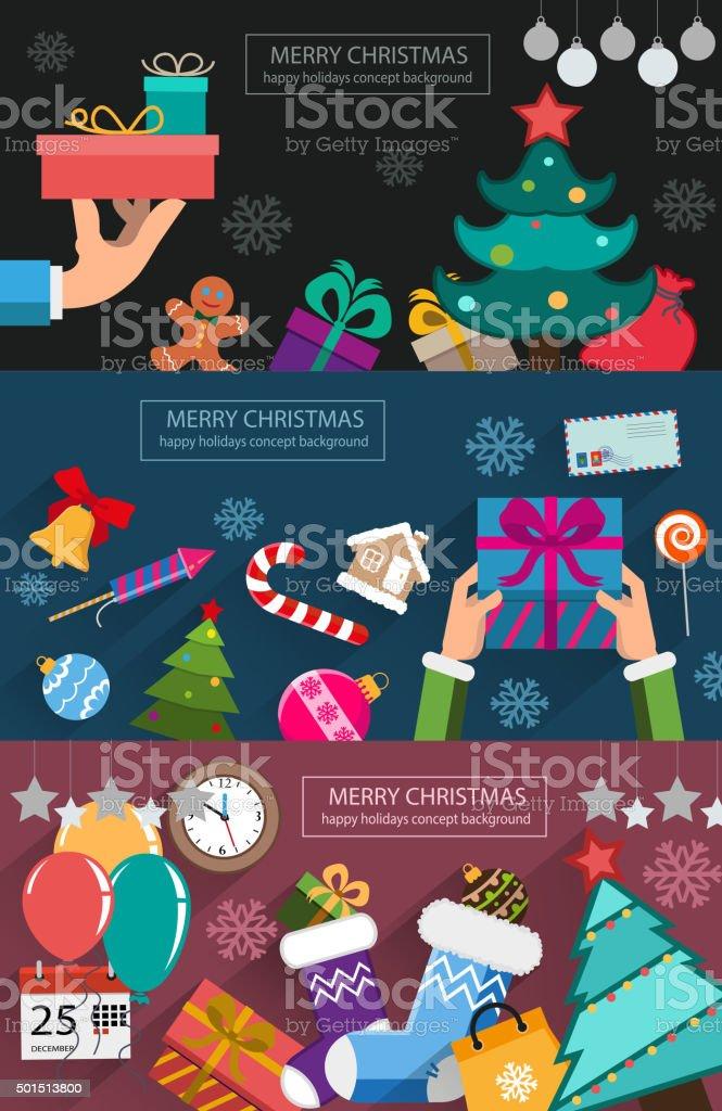 Christmas cards flat design vector art illustration