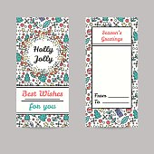 Christmas Cards. Line Style Winter Season Illustrations.