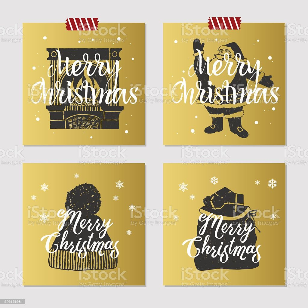 Christmas cards set. vector art illustration