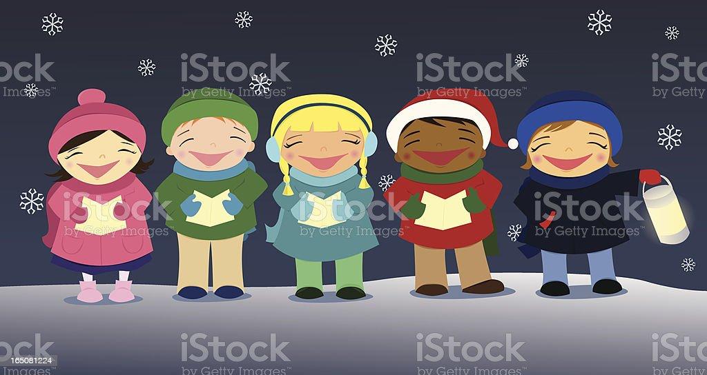 Christmas Carolers vector art illustration