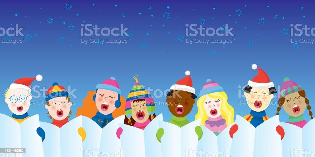 Christmas carols vector art illustration