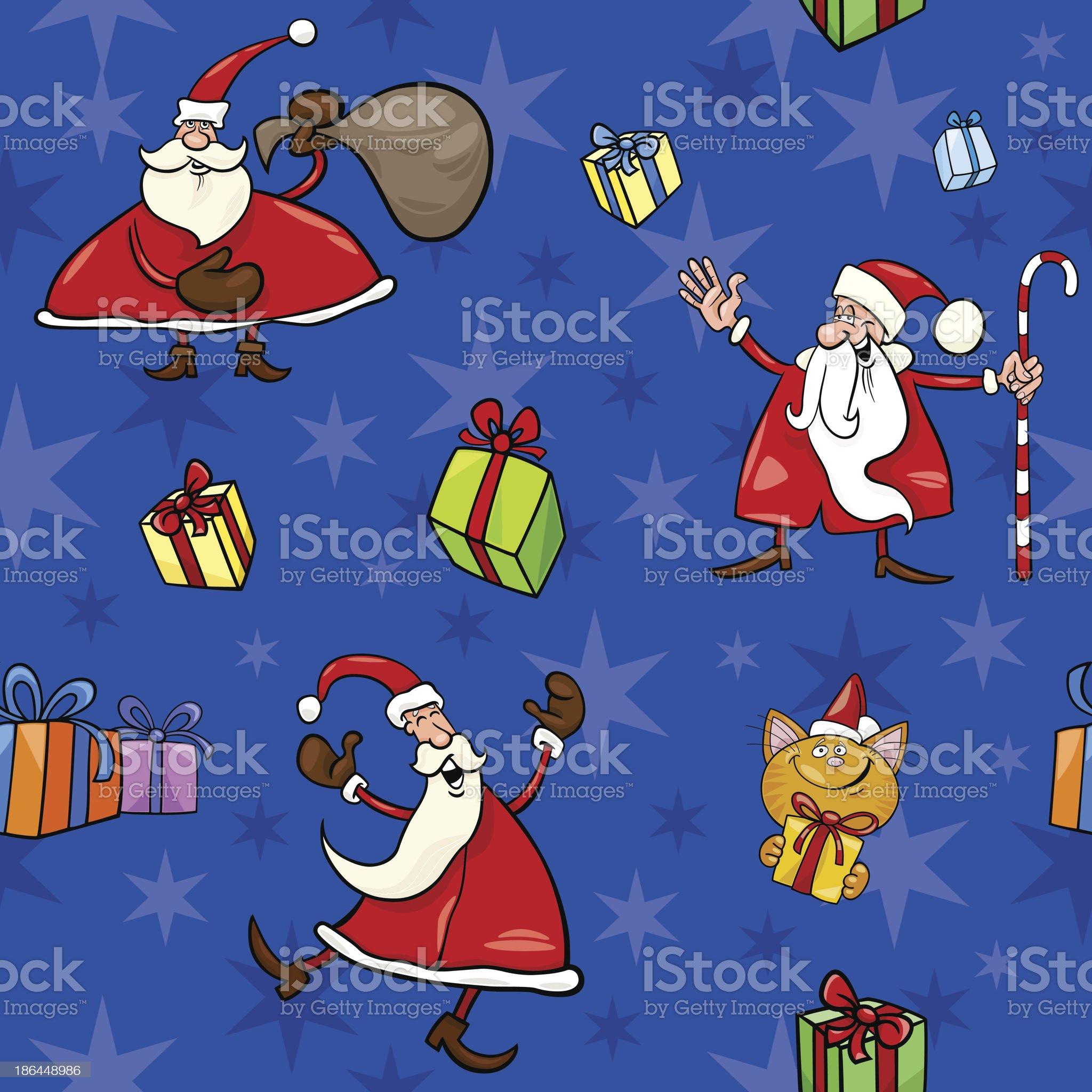 christmas cartoon seamless pattern decor royalty-free stock vector art