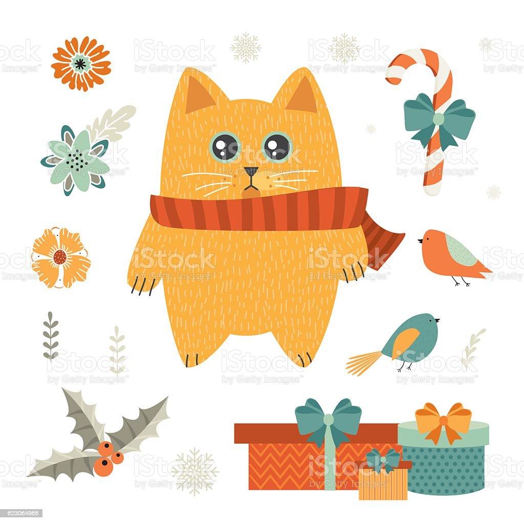 Christmas cat vector art illustration