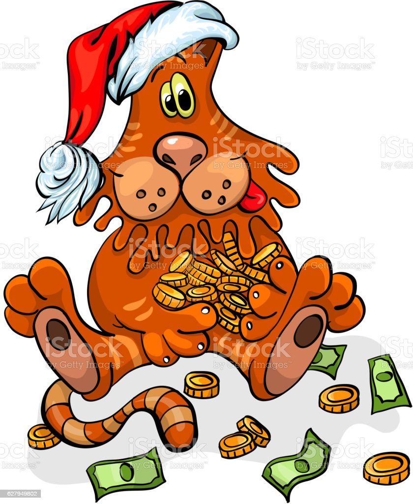 Christmas cat with Santa hat vector art illustration