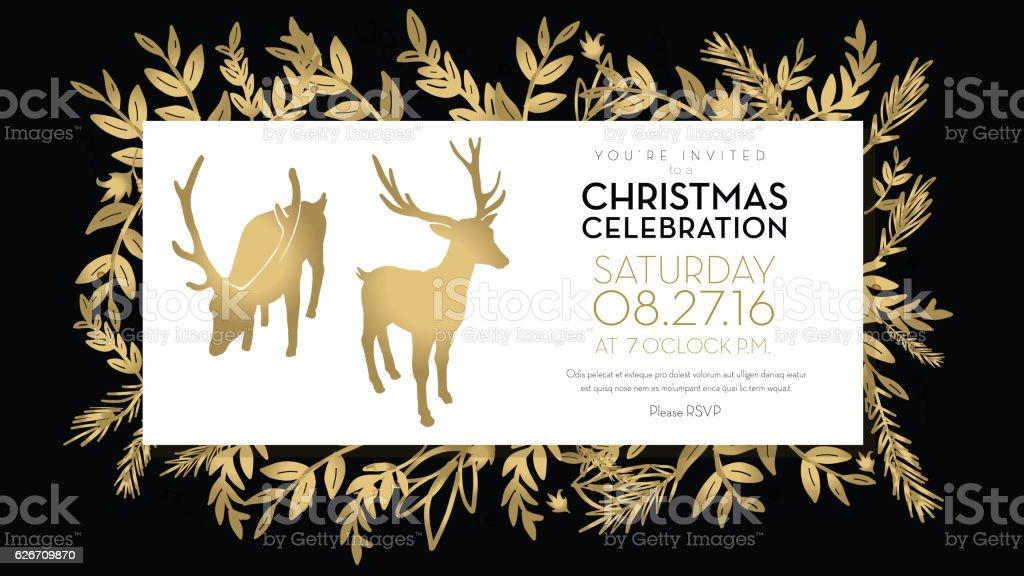Christmas celebration invitation template golden hand drawn elements vector art illustration