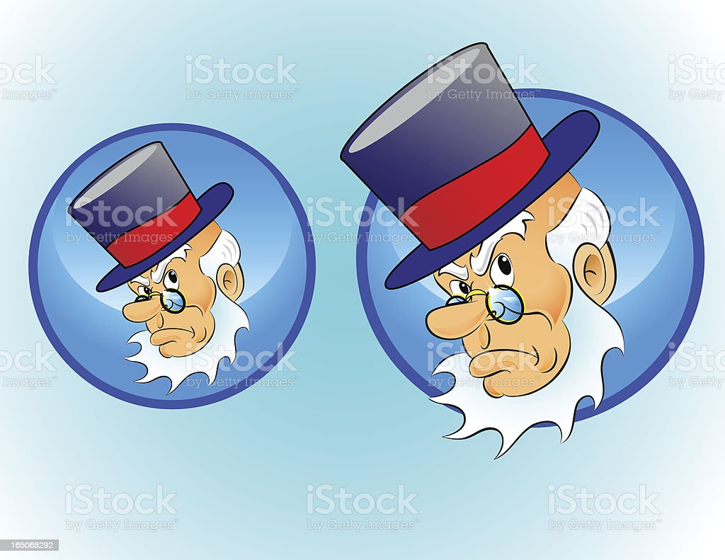 Christmas Character Icon: Scrooge vector art illustration