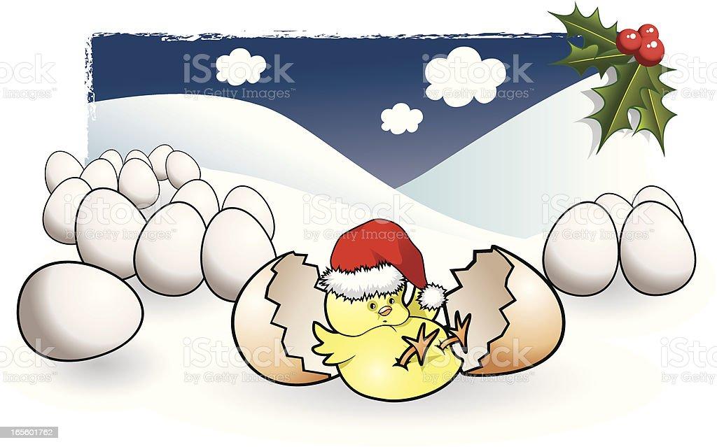 Christmas Chicken vector art illustration