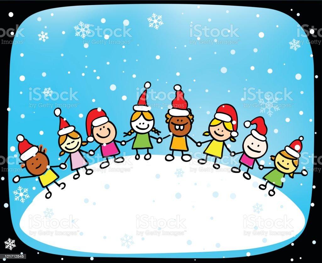 Christmas children cartoon royalty-free stock vector art