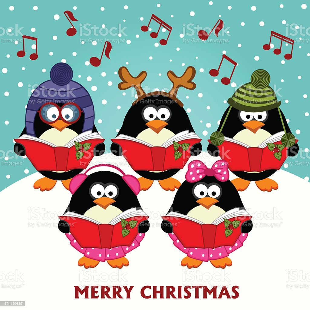 Christmas choir penguins vector art illustration