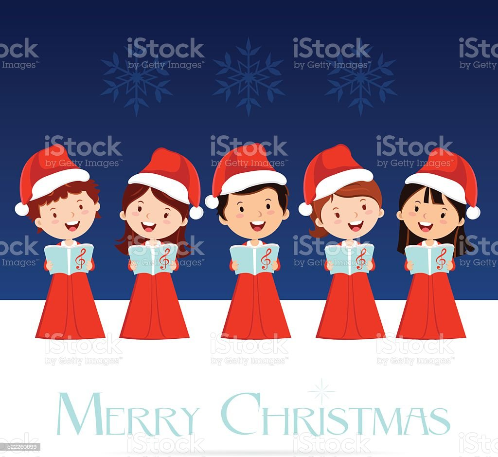 Christmas Choir vector art illustration