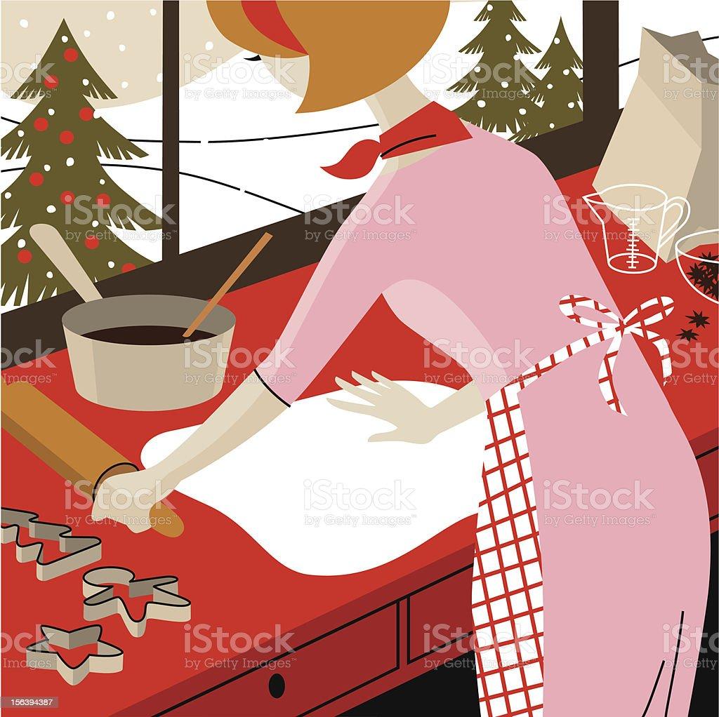 Christmas chores. vector art illustration