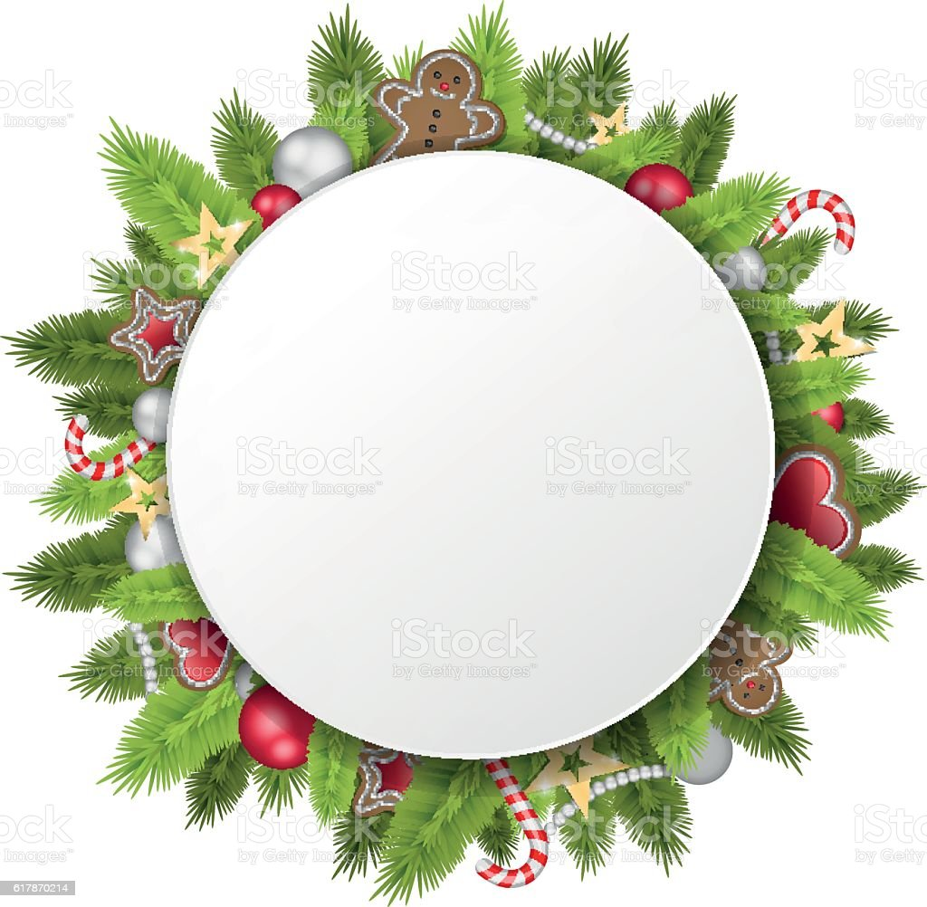 christmas circle vector art illustration