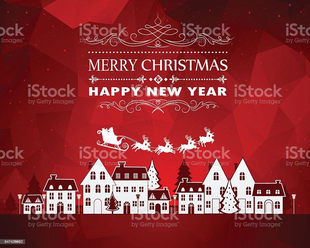 Christmas City vector art illustration