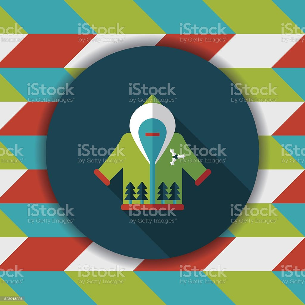 Christmas clothes flat icon with long shadow,eps10 vector art illustration
