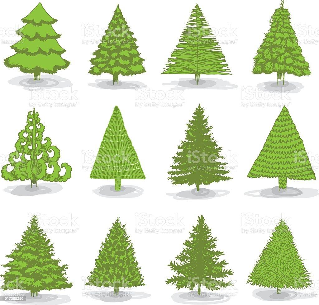 Christmas collection tree vector art illustration