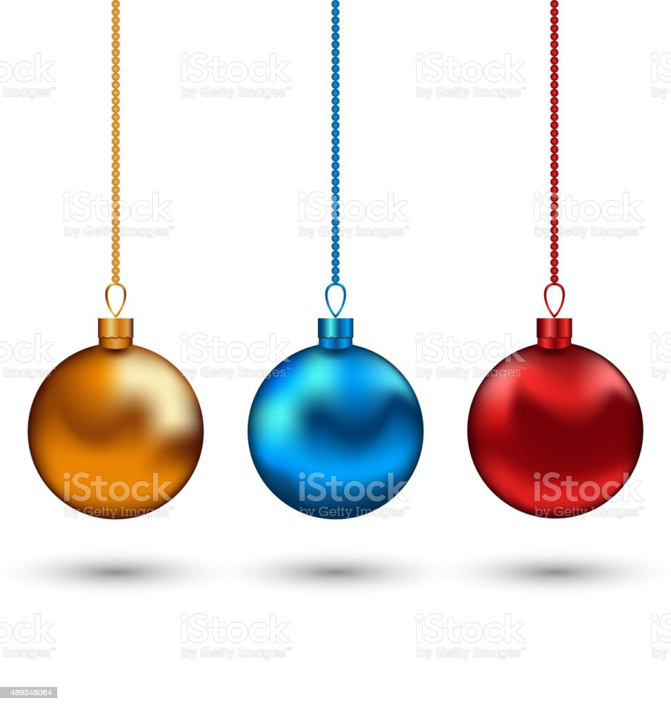 Christmas Colorful Balls Isolated On White Background stock vector ...