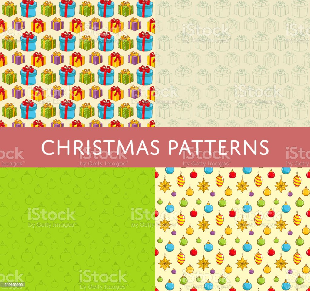 Christmas Colorful Vector Seamless Patterns Set vector art illustration