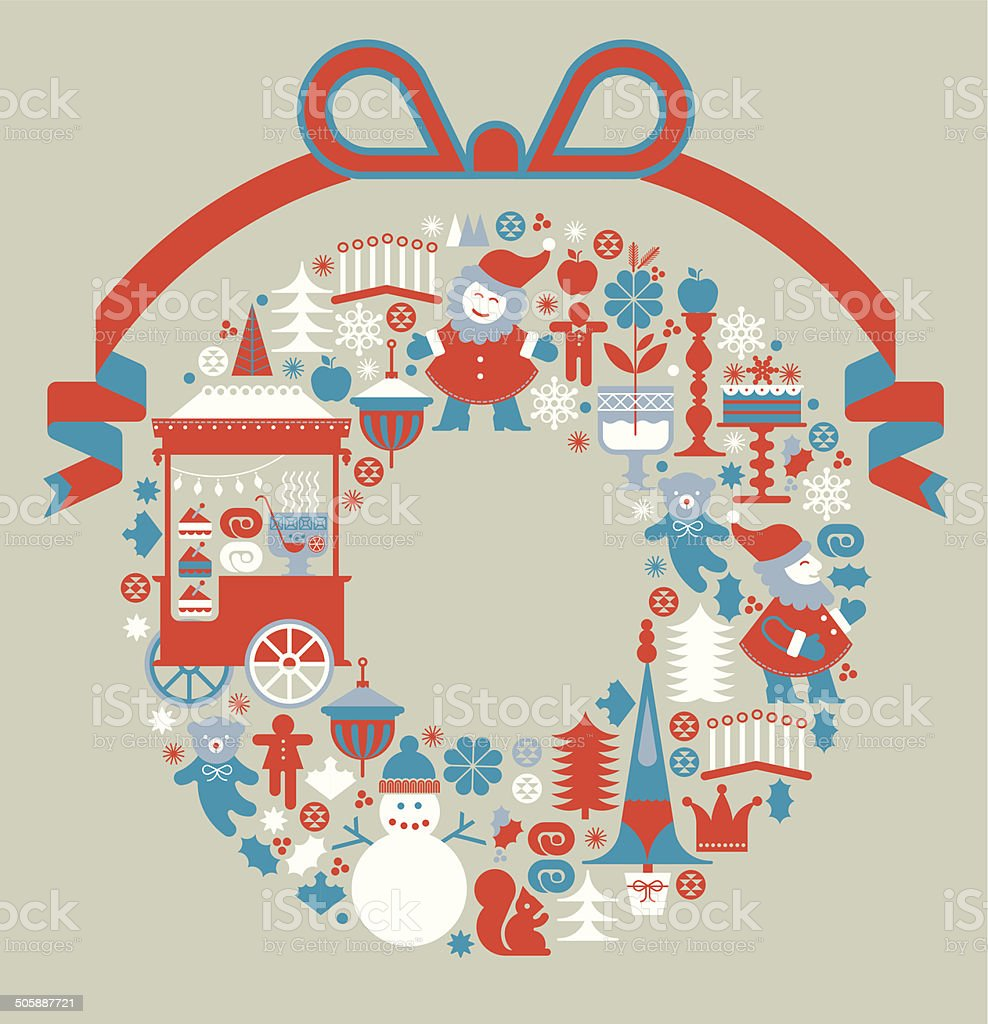 Christmas composition with blank space.int vector art illustration
