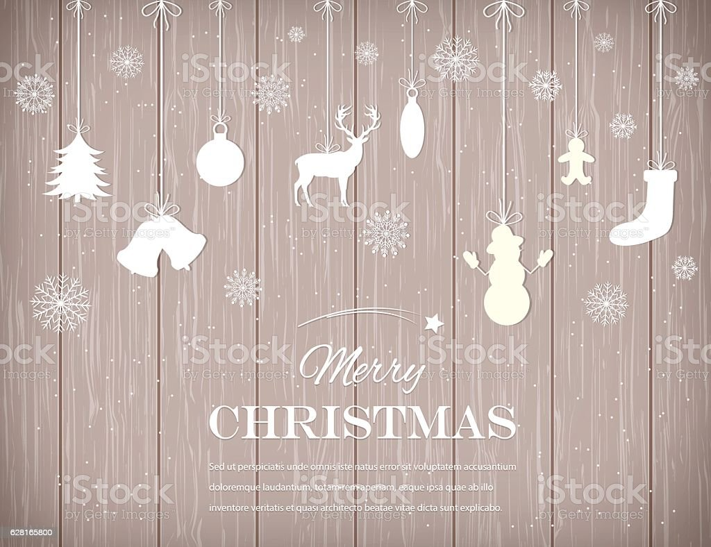 Christmas composition with snowlakes and decoration elements. Vector royalty-free stock vector art