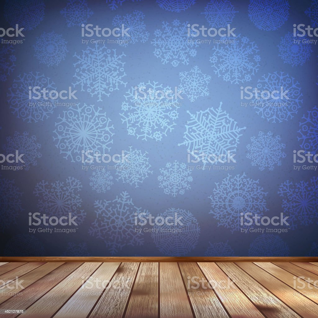 Christmas composition with wood floor. EPS 10 royalty-free stock vector art
