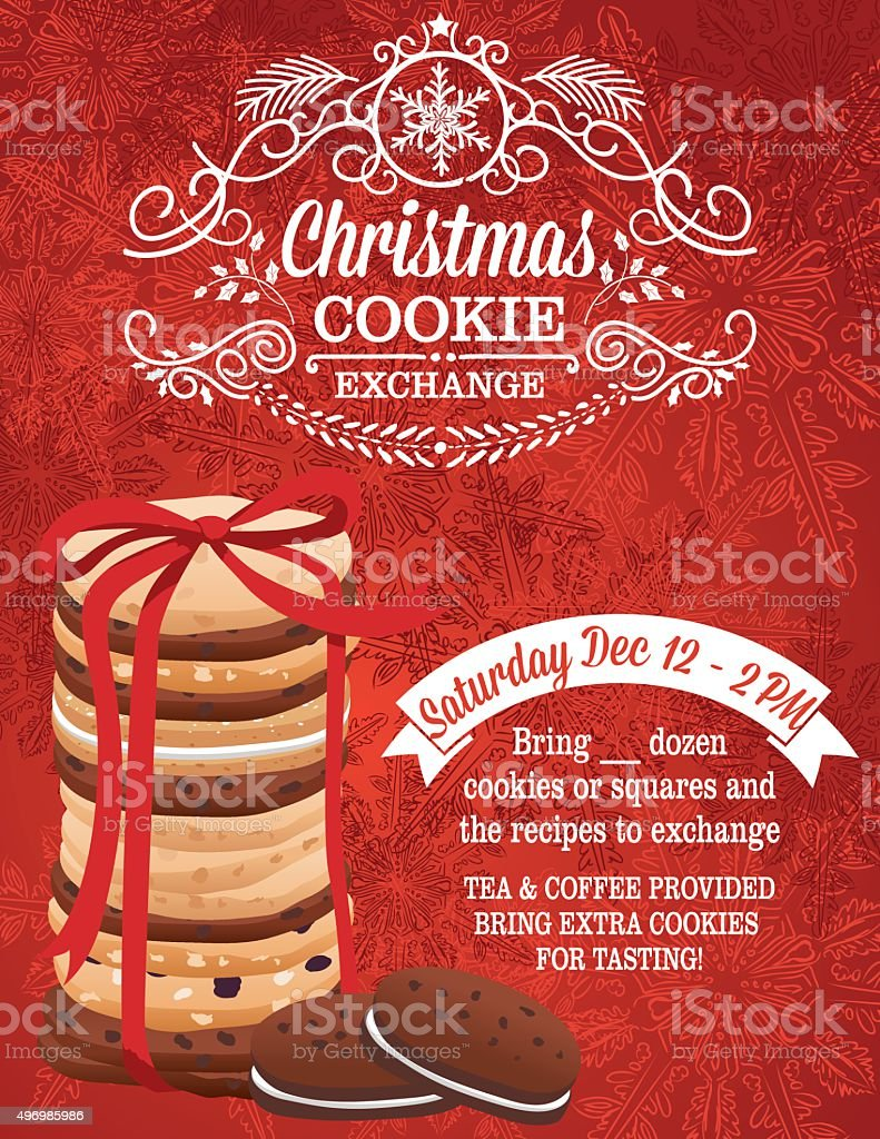 Christmas Cookie Exchange Party Invitation Template vector art illustration