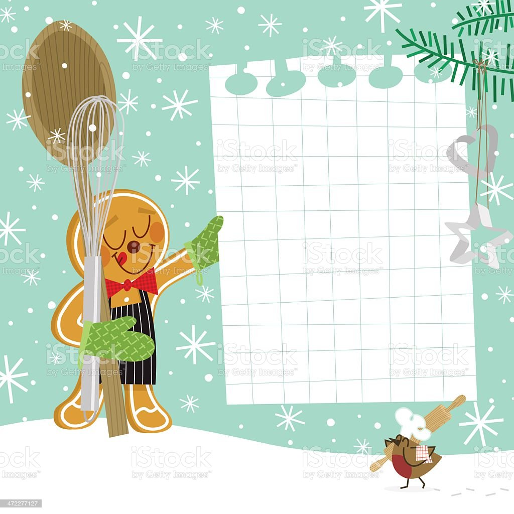 Christmas cookie recipe / Gingerbread man with robin bird vector art illustration