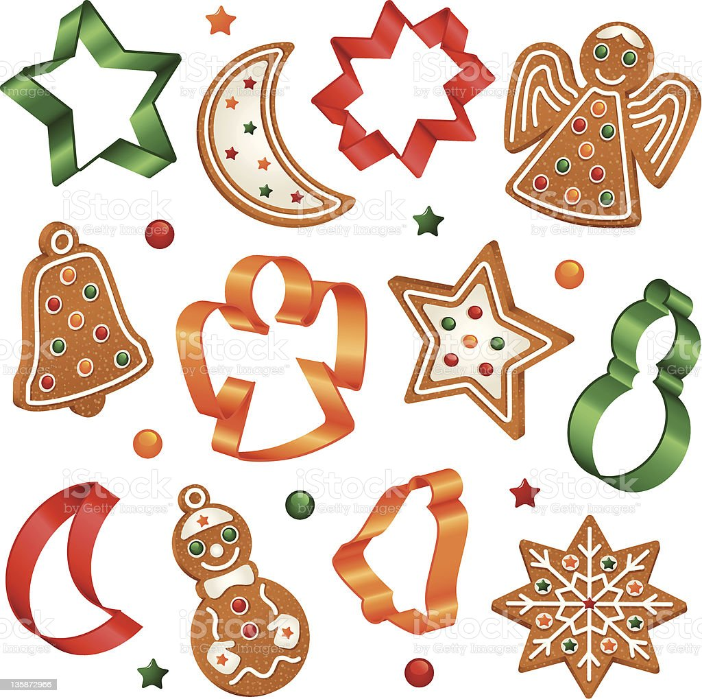 Christmas cookies and cookie cutters vector art illustration
